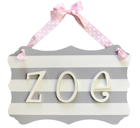 Wooden Stripe Name Plaque in Gray
