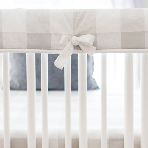 White and Grey Crib Rail Cover | Grey Buffalo Check Baby Bedding Collection