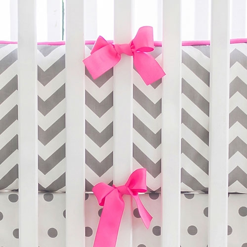 Hot Pink and Gray Chevron Bumper