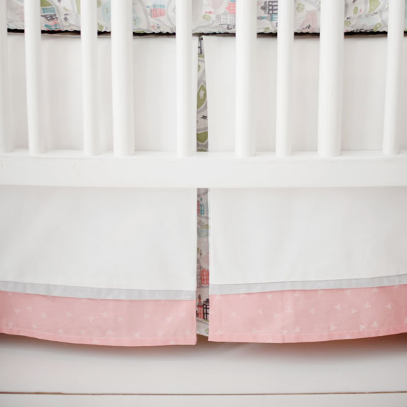 Coral and Gray Nursery Skirt | In the City Collection