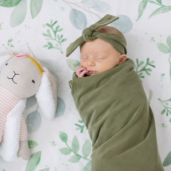 Knit Swaddle Blanket - Sage Green