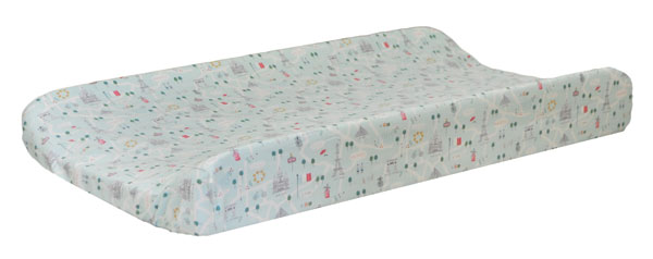 Pink and Aqua Changing Pad Cover | Le Paris Crib Collection