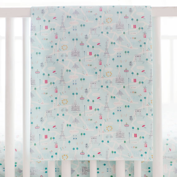 Pink and Aqua Crib Blanket | Le Paris Bedding Collection