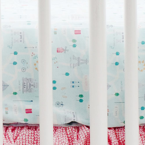 Aqua Paris Crib Sheet | Le Paris Bedding Collection