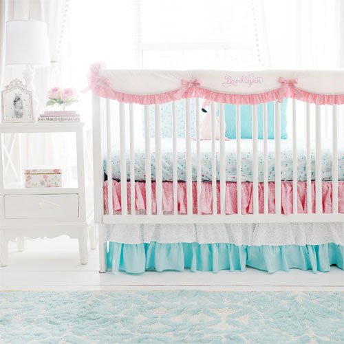 Pink and Aqua Crib Rail Cover Nursery Bedding | Le Paris Collection