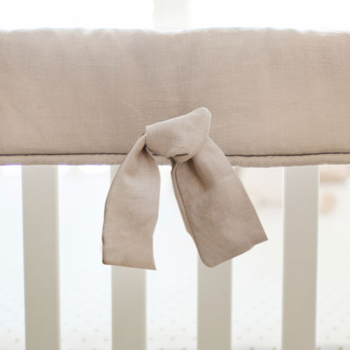 Khaki Linen Crib Rail Cover | Washed Linen in Flax Collection