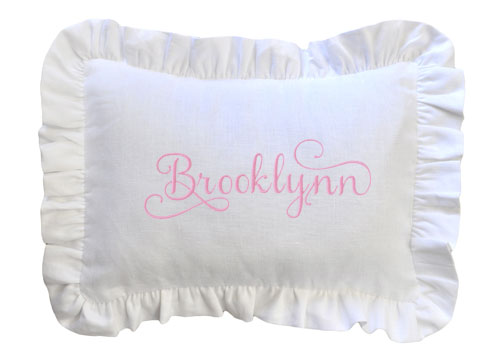 White Linen Pillow with Ruffle