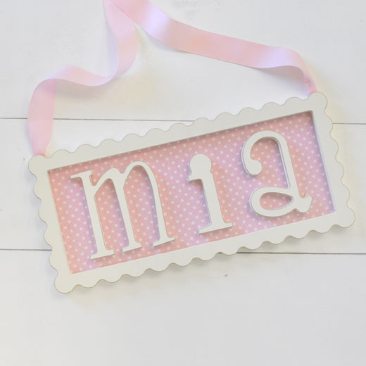 Scalloped Frame Personalized Plaque - 3 Letters
