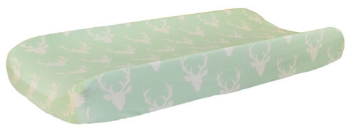 Mint Deer Changing Pad Cover | Buck Forest in Mint Crib Collection