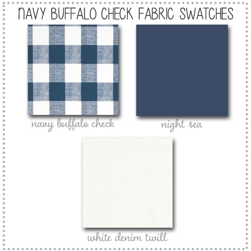 Navy Buffalo Check Crib Bedding Collection Fabric Swatches Only