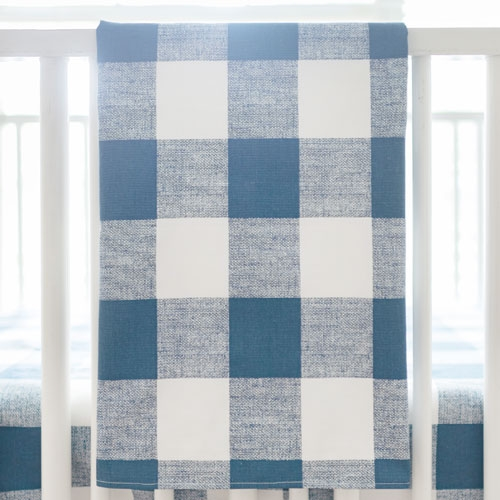 Navy and White Plaid Crib Blanket | Navy Buffalo Check Bedding Collection