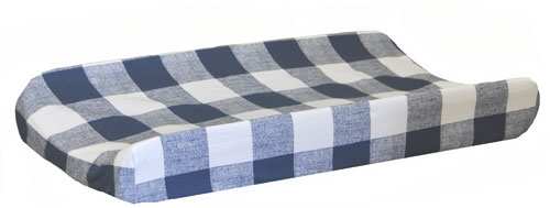 Navy Changing Pad Cover | Navy Buffalo Check Crib Collection