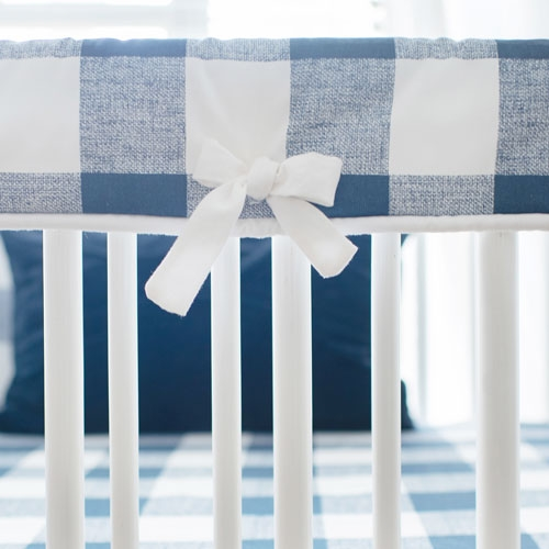 White and Navy Plaid Crib Rail Cover | Navy Buffalo Check Baby Bedding Collection