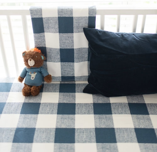 Plaid Baby Quilt: Navy And White Plaid Crib Blanket