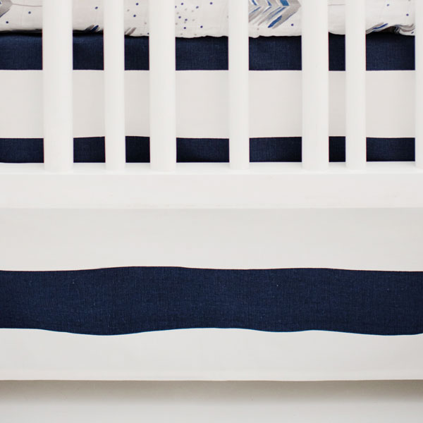 White and Navy Nursery Skirt | Aim High Crib Collection