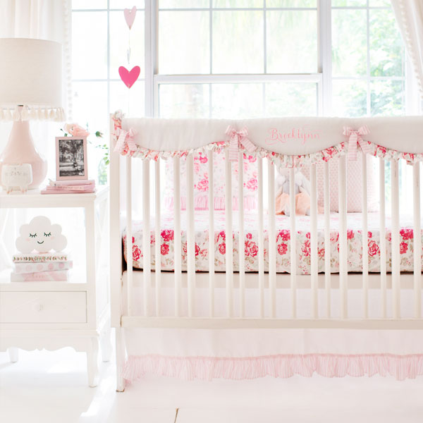 Vintage Rose Crib Bedding New