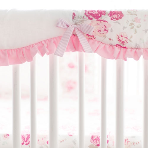 Pink Floral Crib Rail Cover | Nostalgic Rose Collection
