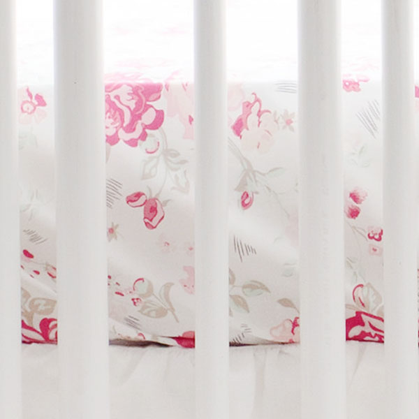 Vintage Floral Crib Sheet  | Nostalgic Rose Bedding Collection