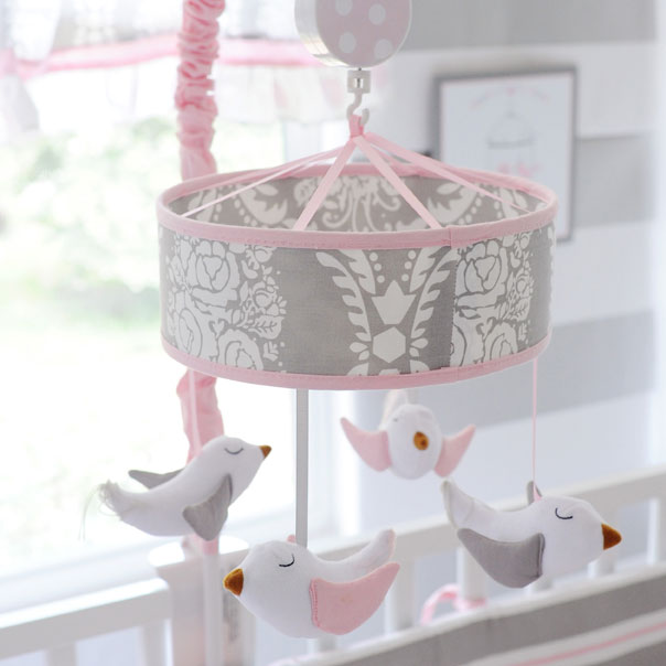 Pink And Gray Baby Mobile Olivia Rose My Baby Sam