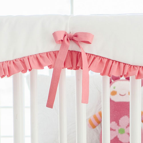 White and Coral Crib Rail Guard Cover | Coral Ombre Crib Collection
