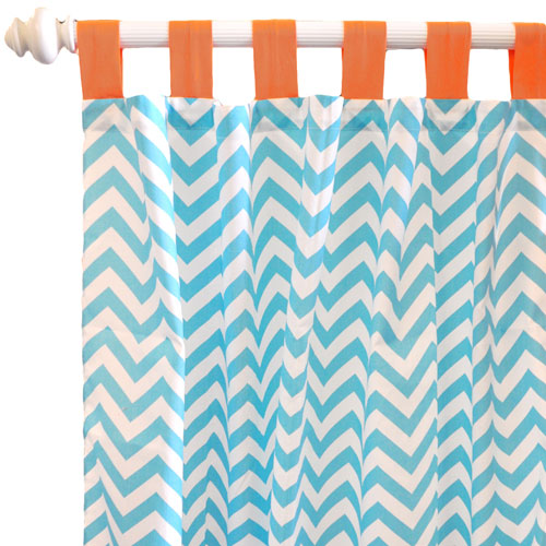 Aqua Chevron Curtain Panels