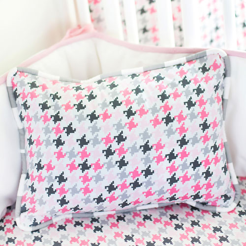 Pink and Gray Houndstooth Pillow | Paper Moon Crib Collection