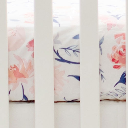 Floral Crib Sheet | Rosewater in Peach Baby Bedding Collection