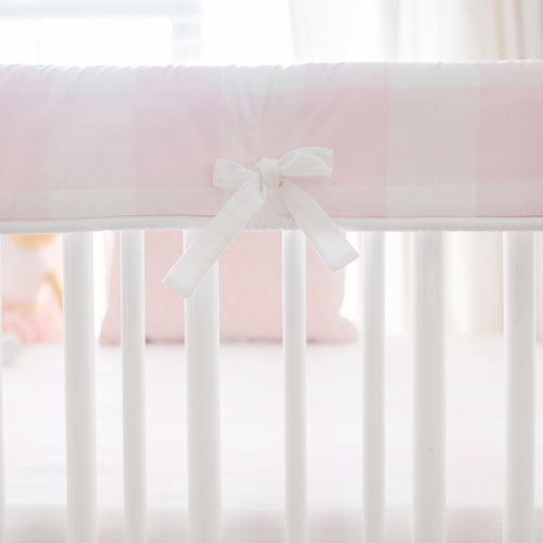 White and Pink Crib Rail Cover | Pink Buffalo Plaid Baby Bedding Collection