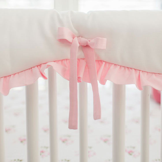 White and Pink Crib Rail Cover with Ruffle
