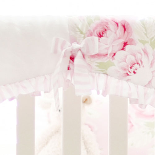 Pink Floral Crib Rail Cover | Pink Desert Rose Collection