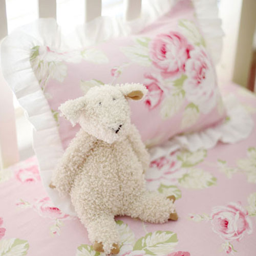 Pink Floral Pillow | Pink Desert Rose Crib Collection