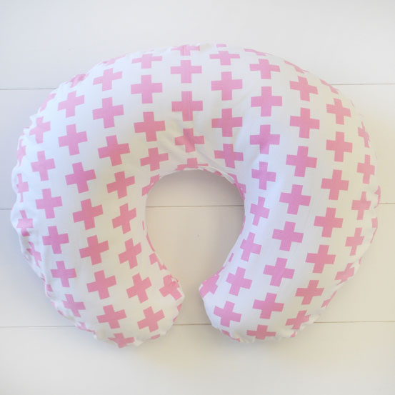 Pink Swiss Cross Nursing Pillow Slipcover | Uptown in Pink Collection