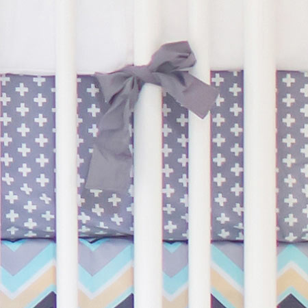 Gray Swiss Cross Crib Sheet  |  Piper in Gray Collection