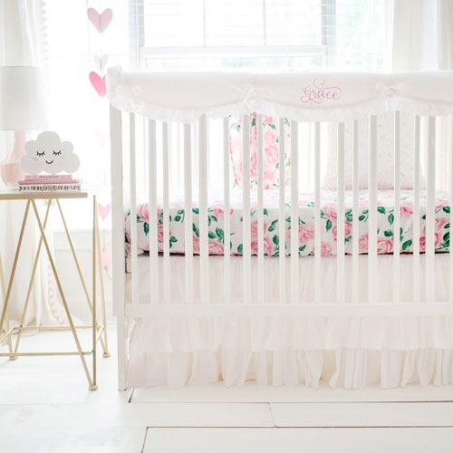 Floral Crib Rail Guard Set | Rose Garden in White Crib Collection