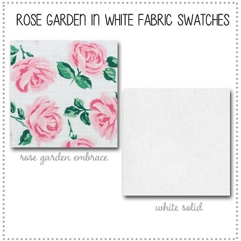 Rose Garden in White Crib Collection Fabric Swatches Only
