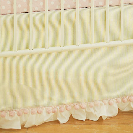 Tailored Crib Skirt with Ruffle | Roses for Bella Crib Collection