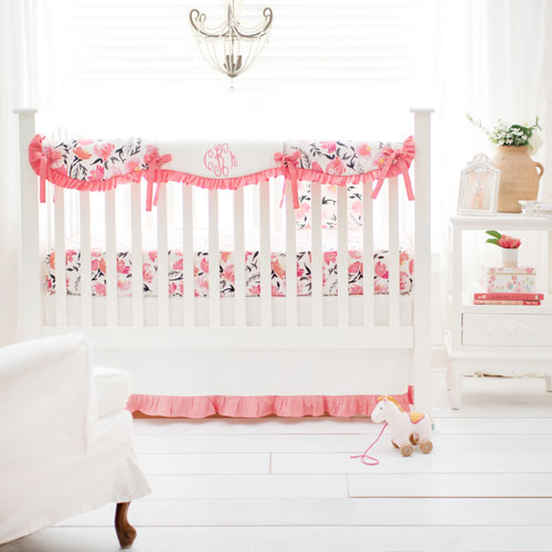 Crib Rail Cover Set | Rosewater in Coral Crib Collection