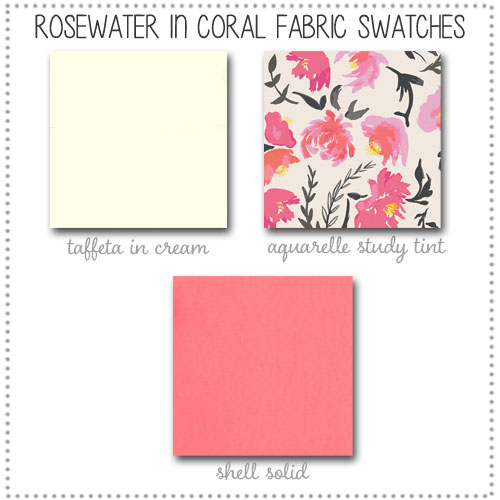 Rosewater in Coral Crib Collection Fabric Swatches Only