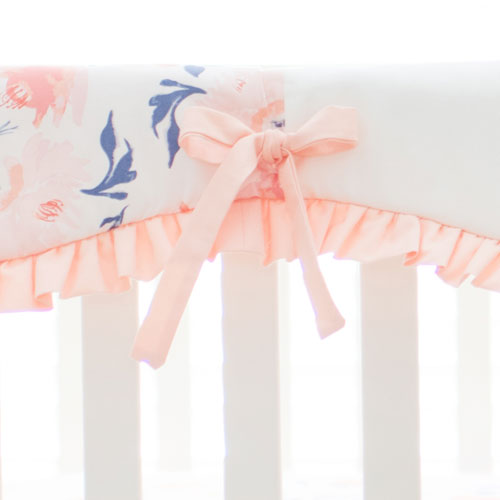 Floral Crib Rail Cover | Rosewater in Peach Collection