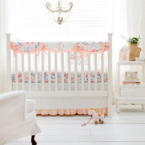 Peach Crib Bedding Set | Rosewater in Peach Collection