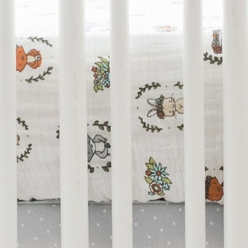 Woodland Muslin Crib Sheet | Saltwater Friends Collection