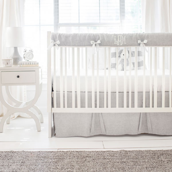 Gray And White Crib Bedding Washed Sea Salt Linen Collection