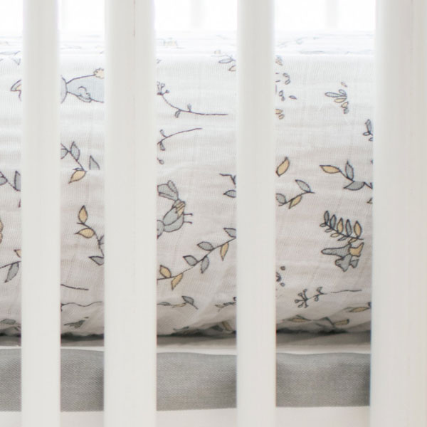 Woodland Muslin Fitted Crib Sheet | Small Wonders Collection