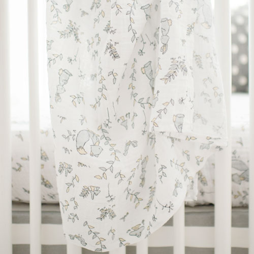 Woodland Muslin Swaddle Baby Blanket | Small Wonders Crib Collection