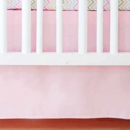 Cotton Pink Solid Tailored Crib Skirt