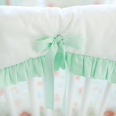White and Mint Crib Rail Cover with Ruffle