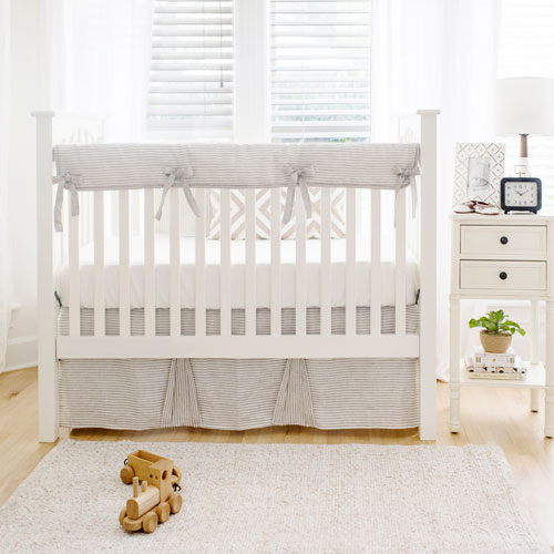 Neutral Baby Bedding | Washed Linen in Ecru Stripe Collection