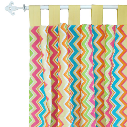 Pink and Yellow Chevron Curtain Panels  |  Sunnyside Up Crib Collection