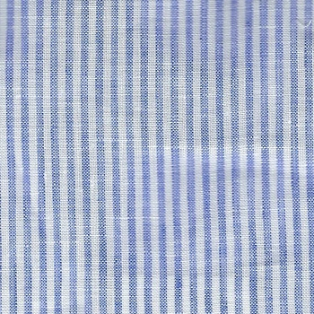 Light Blue Stripe Linen Fabric | Washed Cabo