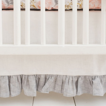 White Linen Crib Skirt with Gray Ruffle | Briar Rose Crib Collection
